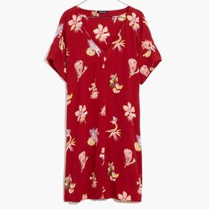 Madewell Birds in Paradise Red Dress Sz M
